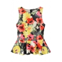 Round Neck Ink Color Flower Print Sleeveless Ruffle Hem Blouse