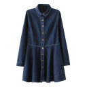 Dark Blue Lapel Button Fly Denim Ruffle Hem Dress