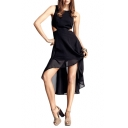 Waist Cutout Double Layer Asymmetric Hem Round Neck Black Dress