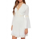 Elegant V-Neck Crochet Lace Insert Double Layer White Chiffon Dress