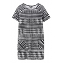 Houndertooth Print Raglan Sleeve Round Neck Double Pocket Dress