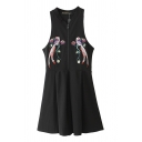 Black Collared Sleeveless Zipper Front Bird Embroidered Dress