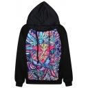 Rock Colorful Elephant Print Hoodie with Long Sleeve
