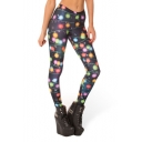 Colorful Light Halo Print Fitted Elastic Pencil Leggings
