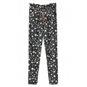 Black Stars Print Drawstring Waist Fitted Pants
