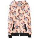 All Over Kitten Print Zipper Fly Hooded Crop Coat