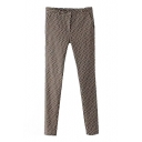 Brown Diamond Print Zipper Fly Pencil Pants