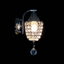 Delicate Chrome Finish Iron Base and Beautiful Crystal Pine Shape Add Charm to Single Light Wall Sconce