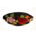 Red and Pink Roses Embellished Tiffany Glass Shade Two Lights Flush Mount Ceiling Light