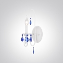 Stunning Wall Sconce Features Elegant White Finish and Romantic Blue Crystal Drops in Williamsburg Style
