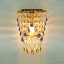 Romantic Strands of Crystal Beads Hanging From Luxury Gold Finish Single Light Wall Sconce