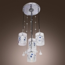 Glamorous Four-light Ceiling Multi-light Pendant Features Beautiful Clear Shades and Crystal Teardrops Made Romantic Embellishment
