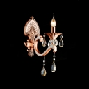 Opulent Unique Antique Red Single Light Wall Sconce Accented Clear Lead Crystal And Sleek Curved Arm