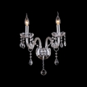 Two Candelabra Fixture Illuminate this Elegant Sparkling Crystal Wall Sconce