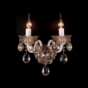 Dazzling Single Light and Delicate Crystal Drops and Plate Formed Impressive Wall Scocne