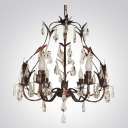 Antique Copper Finished 6-lLight Iron Leaves Hand-Cut Clear Crytsal Accented Chandelier