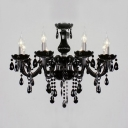 Glamorous Jet Black Frame and Crystal Droplets Traditional Candle Light Chandelier