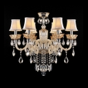 White Fabric Bell Shades Scrolled Glass Arms Hanging Clear Crytsal Drops Chandelier Ceiling Light