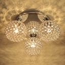 Three Globes Semi-Flush Mount Ceiling Light Sparkling with Crystal Beads