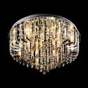 Elegantly Crystal Fringe Flush Mount Hanging Crystal Beads and Amber Diamonds
