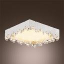 Brilliant Design Crystal Beads Embedded Romantic White Shade Flush Mount Lighting
