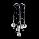 Stunning Multi-Light Pendant Adorned with Delicate Sphere Shades and Dazzling Clear Crystal Balls
