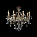 Classic and Elegant 8-Light Warm Amber Crystal Chandelier Shine with Brilliant Crystals