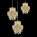 Three Lights Warm and Elegant Crystal Accented Bold Design Multi-Light Pendant