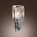 Opulent and Charming Wall Sconce Completed with Stunning Faceted Square Crystals and White Finish Frame