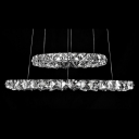 Bold and Chic Round Crystal Two Rings Shaped Pendant Light Embedded by Crystal Diamonds