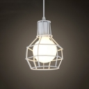 Retro Black LED Pendant Light with Cage Shade