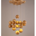 "16-Light 19.6""Wide Wooden Ball Designed Large Pendant Lighting"
