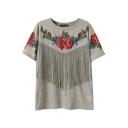 Red Flower Print Fringe Front Gray T-Shirt