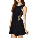 Metal Embellished Checker Mesh Panel Backless A-line Mini Black Dress