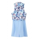 Lapel Blue Background Flower Jacquard Sleeveless Rompers