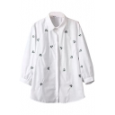 Lapel 3/4 Sleeve Floral Embroidery White Shirt