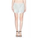 High Waist Plain Mesh Panel Pockets Shorts
