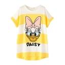 Short Sleeve Midi Stripe& Daisy Duck Print T-Shirt