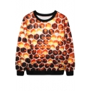 Honeycomb Print Orange Sweatshirt