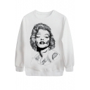 Horror Marilyn Monroe Print White Sweatshirt