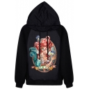 Tiny Mermaid Print Black Hoodie
