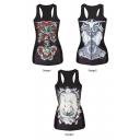 Rose&Uniform&Rabbit Print Black Tanks
