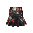 Vintage Flower Print A-line Skirt