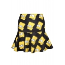 All Over Simpson Print Black A-line Skirt