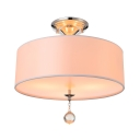 Grand White Fabric Drum Shade Semi Flush Ceiling Lights Adorned with Polished Chrome Finish Iron Base and Clear  Crystal Ball