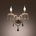 Dazzling Curving Crystal  Arms Add Charm to Stunning Wall Sconce with Two Candle Lights