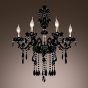 Mysterious Black Williamsburg Style Six Lights Chandelier Featuring Crystal Glass Framework