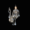 Sophisticated Single Light Crystal Wall Sconce with Graceful Curving Arm