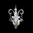 Dramatic Unique Design Offers Glamourour Embellishment to Delightful Single Light Crystal Wall Sconce