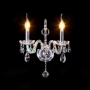 Finest Crystal Embraces Stunning Double Candle-style Light Wall Sconce